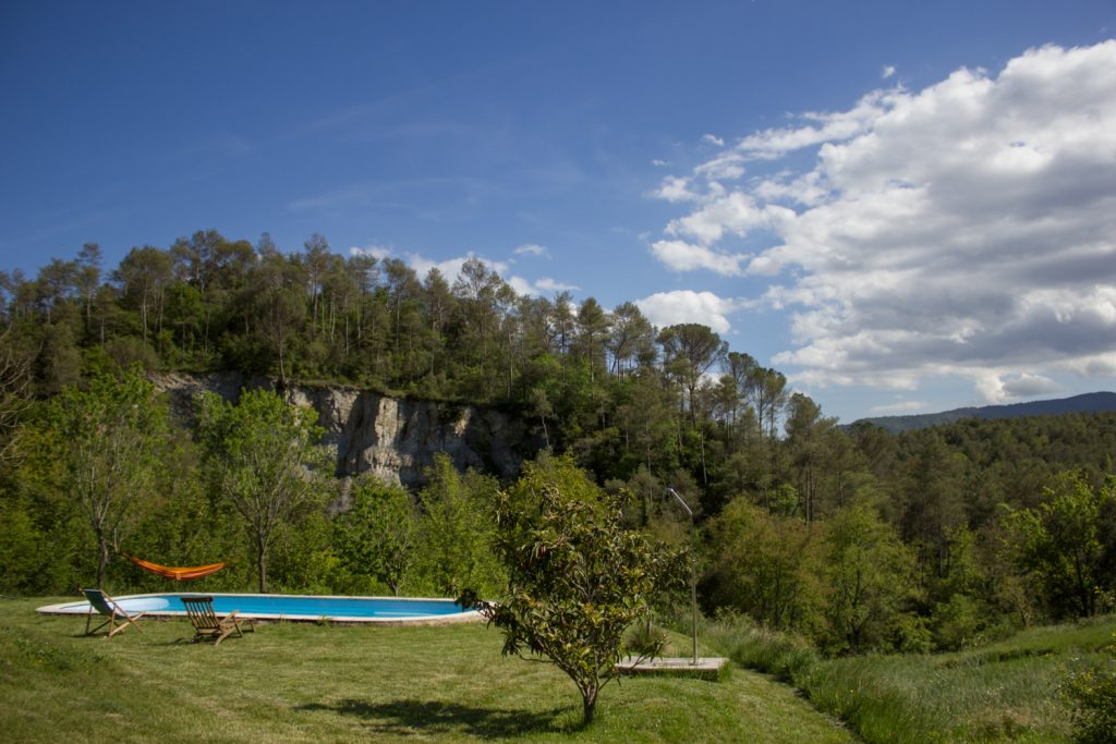 The swimming pool is surrounded by nature